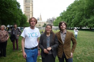YCE Chair Richard Lane and Treasurer Tom Sherwen with Rachael Maskell MP at the Climate Bobby.