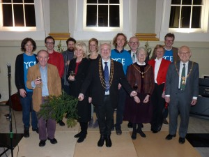 The Lord Mayor and the Civic Party with performers and YCE volunteers at the fundraiser.