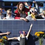 Currie High School pupils celebrating their new solar panels