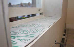 Insulated window ledge as part of a deep retrofit project near Leeds