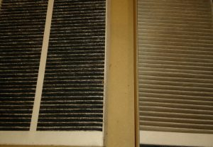 Used MVHR filters from a York Passivhaus – an illustration of York's air pollution levels. The one on the left filters outside air coming in and the other inside air going out.